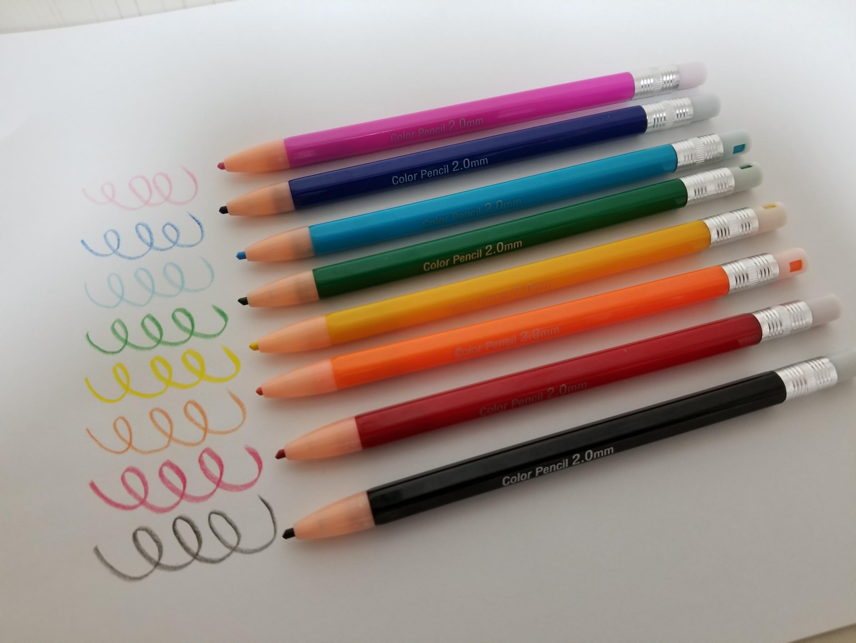 ノック式色鉛筆実際書いてみた